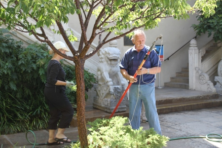 Richard Suran working in the courtyard garden at USC PAM.