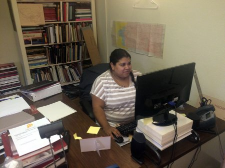 USC PAM Getty Intern hard at work at her desk